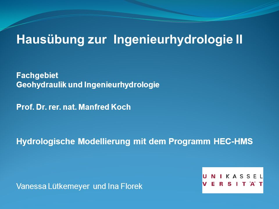 Hausübung zur Ingenieurhydrologie II