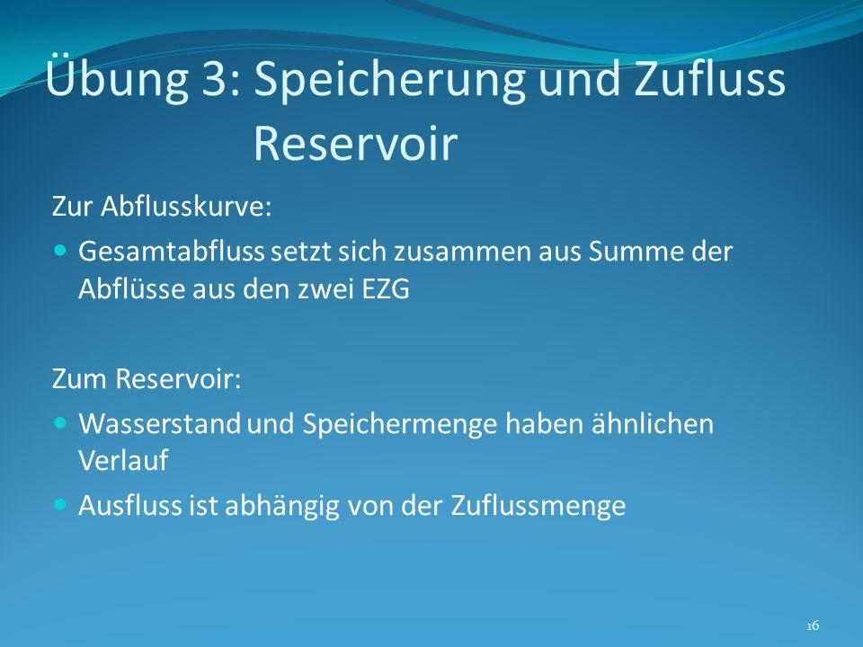 Übung 3: Speicherung und Zufluss Reservoir