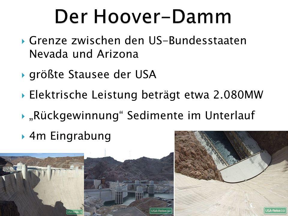 Der Hoover-Damm Grenze zwischen den US-Bundesstaaten Nevada und Arizona. größte Stausee der USA. Elektrische Leistung beträgt etwa 2.080MW.