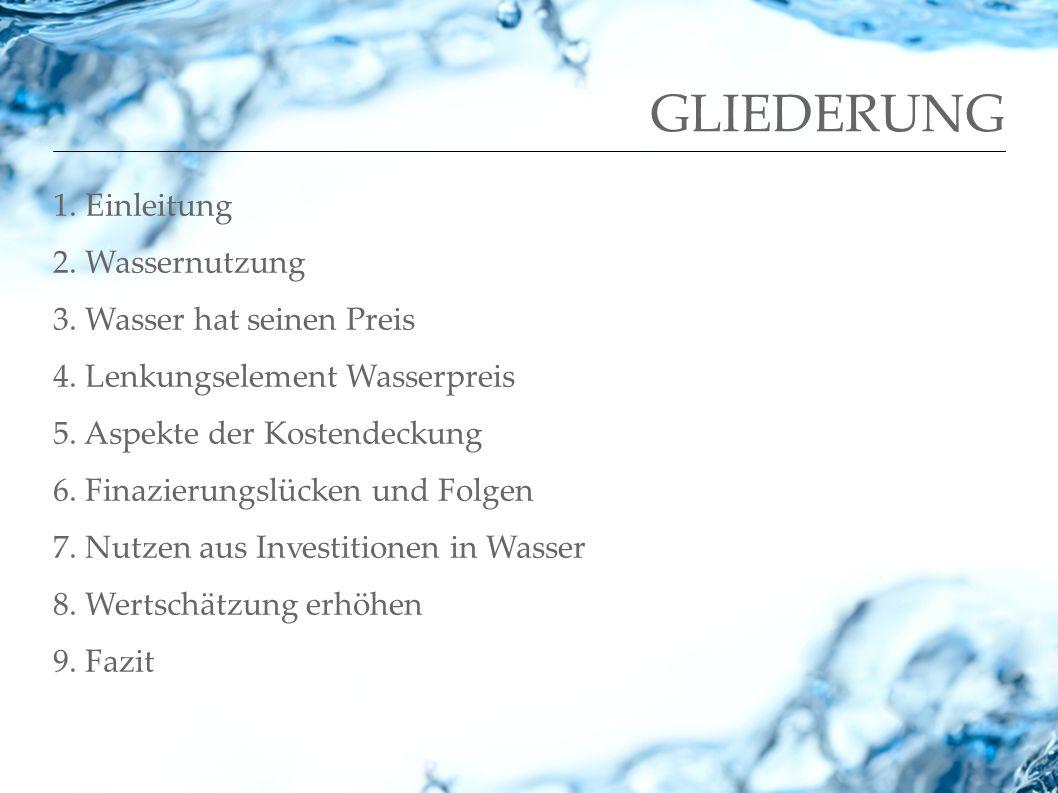 GLIEDERUNG 1. Einleitung 2. Wassernutzung 3. Wasser hat seinen Preis