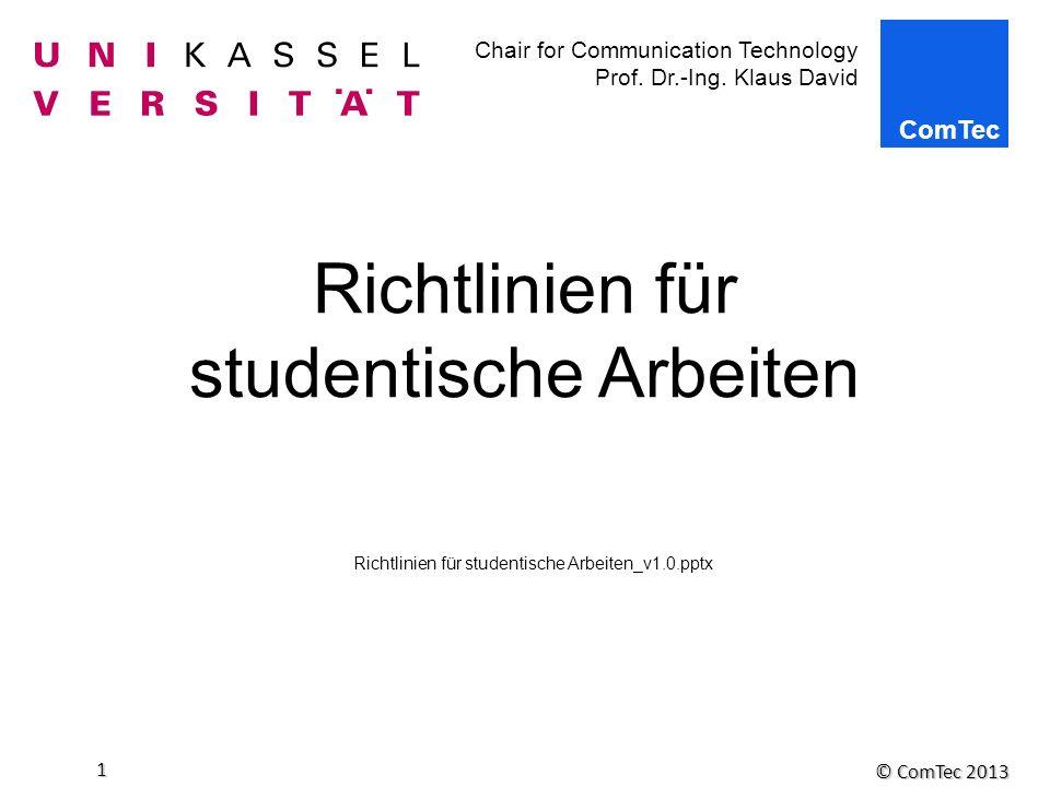 Richtlinien für studentische Arbeiten