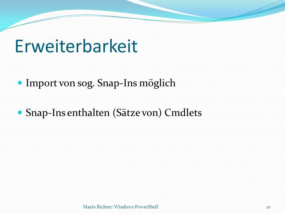 Erweiterbarkeit Import von sog. Snap-Ins möglich
