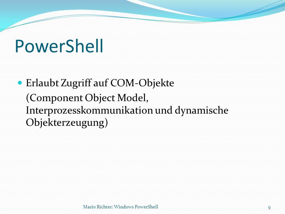 PowerShell Erlaubt Zugriff auf COM-Objekte