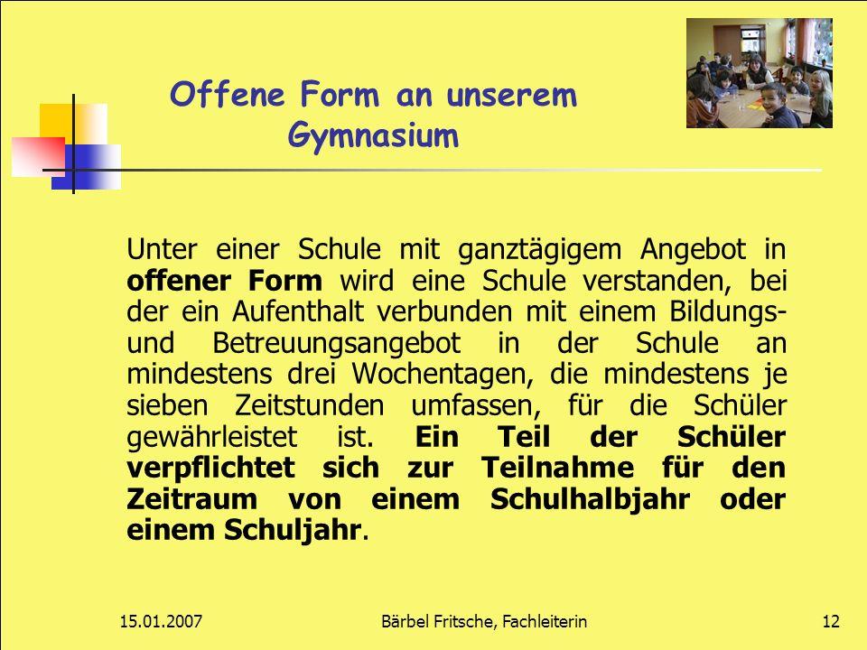 Offene Form an unserem Gymnasium