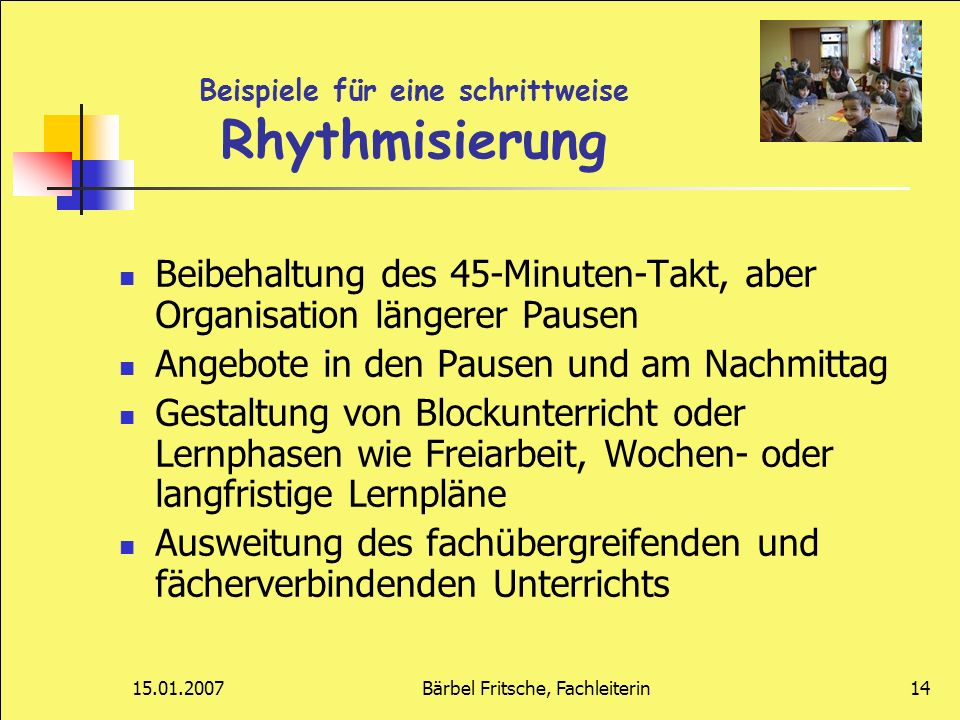 Beispiele für eine schrittweise Rhythmisierung