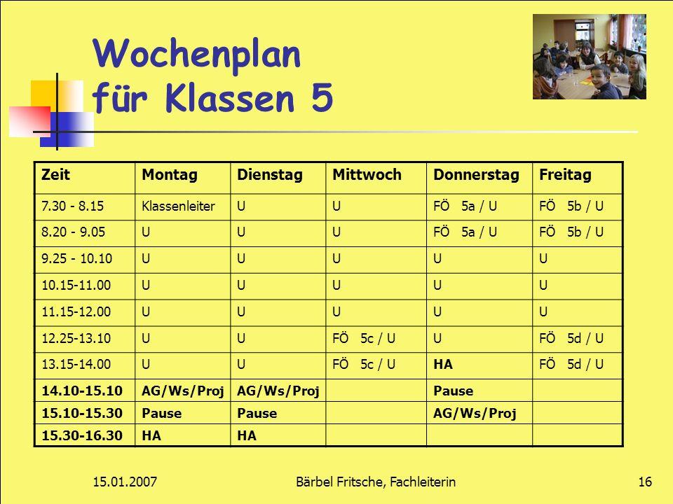 Wochenplan für Klassen 5