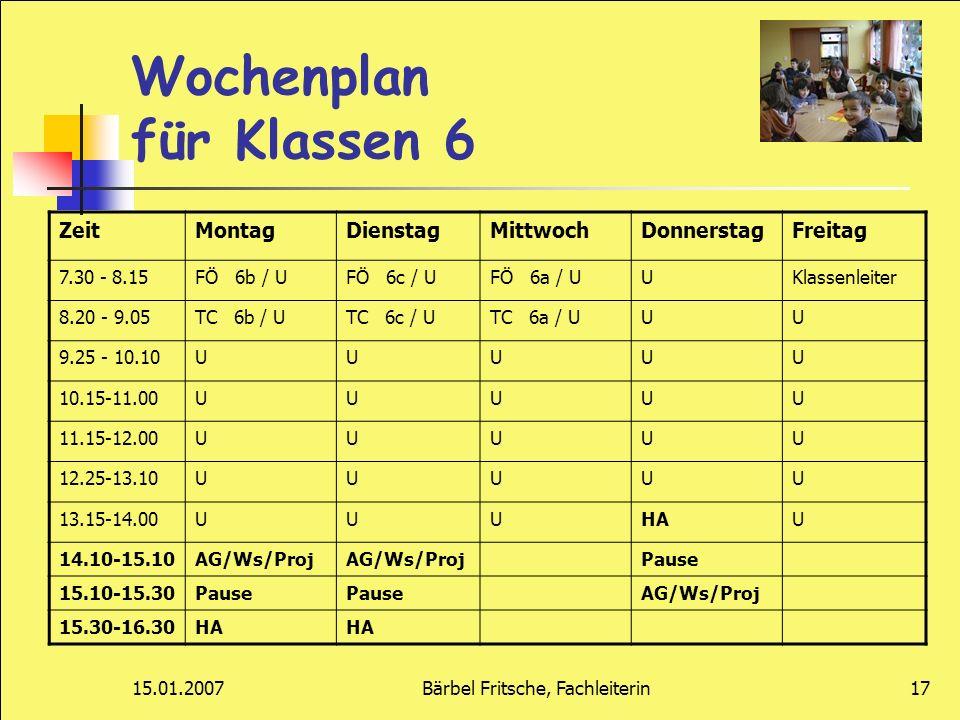 Wochenplan für Klassen 6