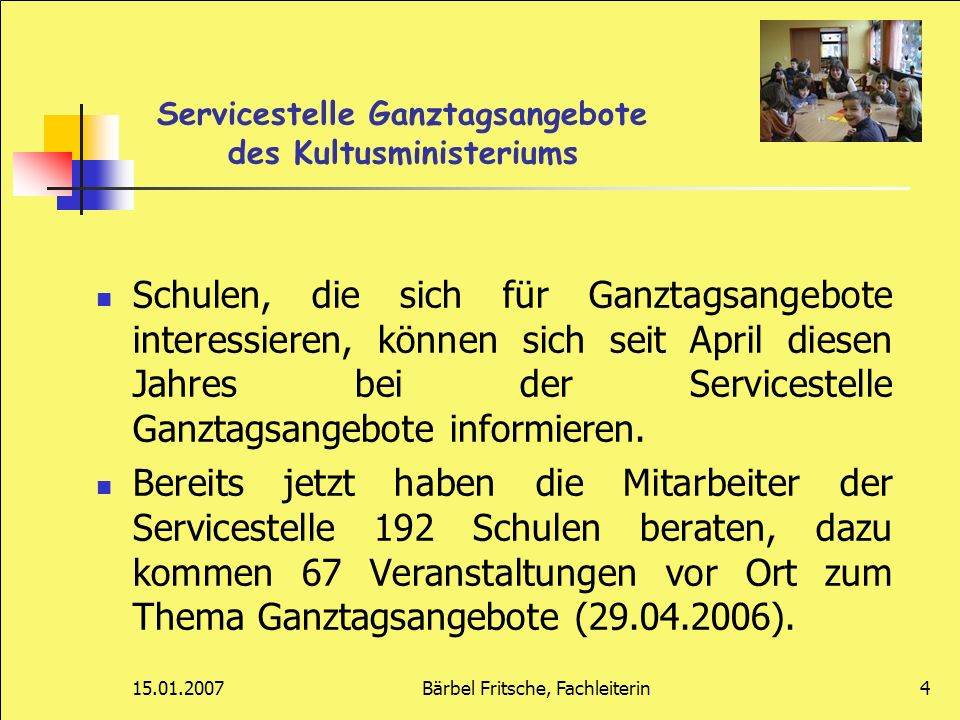 Servicestelle Ganztagsangebote des Kultusministeriums