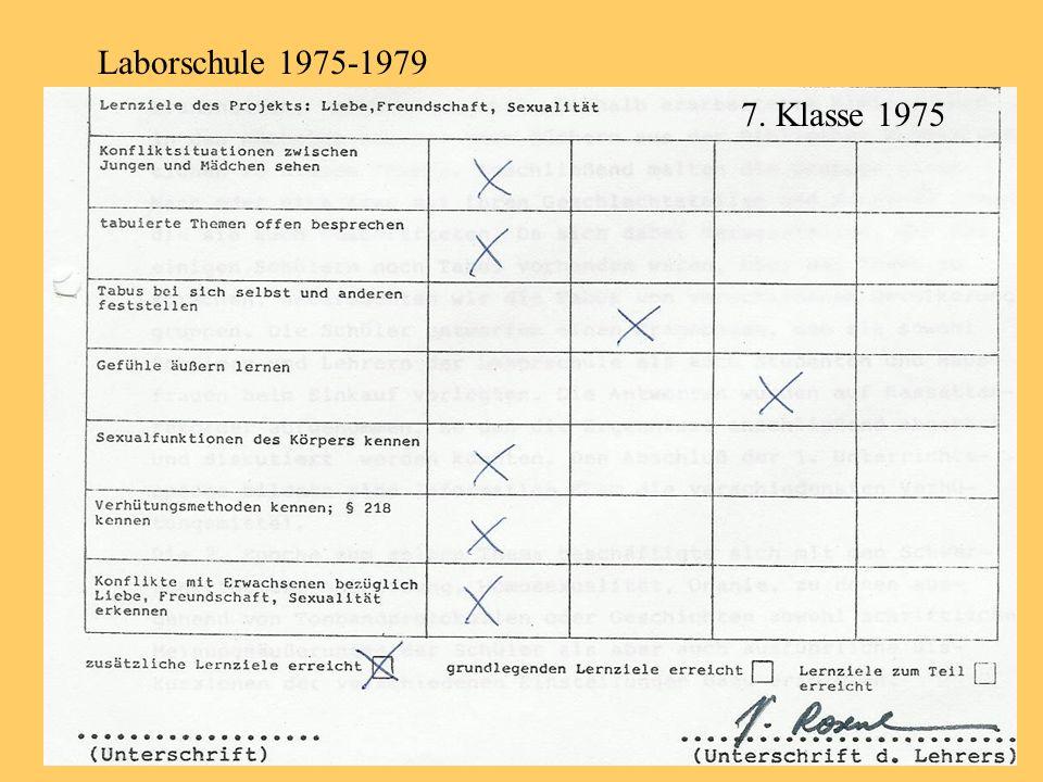 Laborschule 1975-1979 7. Klasse 1975