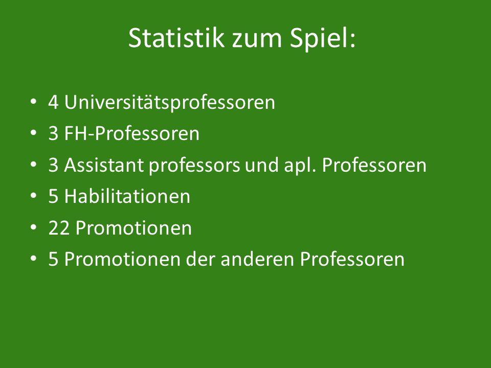Statistik zum Spiel: 4 Universitätsprofessoren 3 FH-Professoren