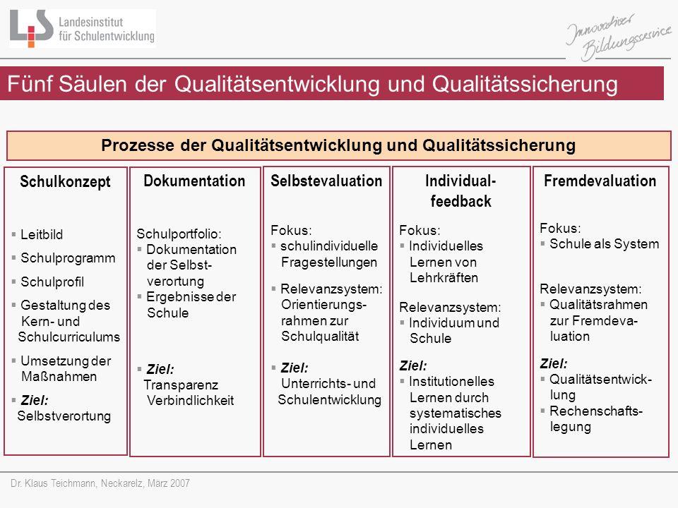Prozesse der Qualitätsentwicklung und Qualitätssicherung