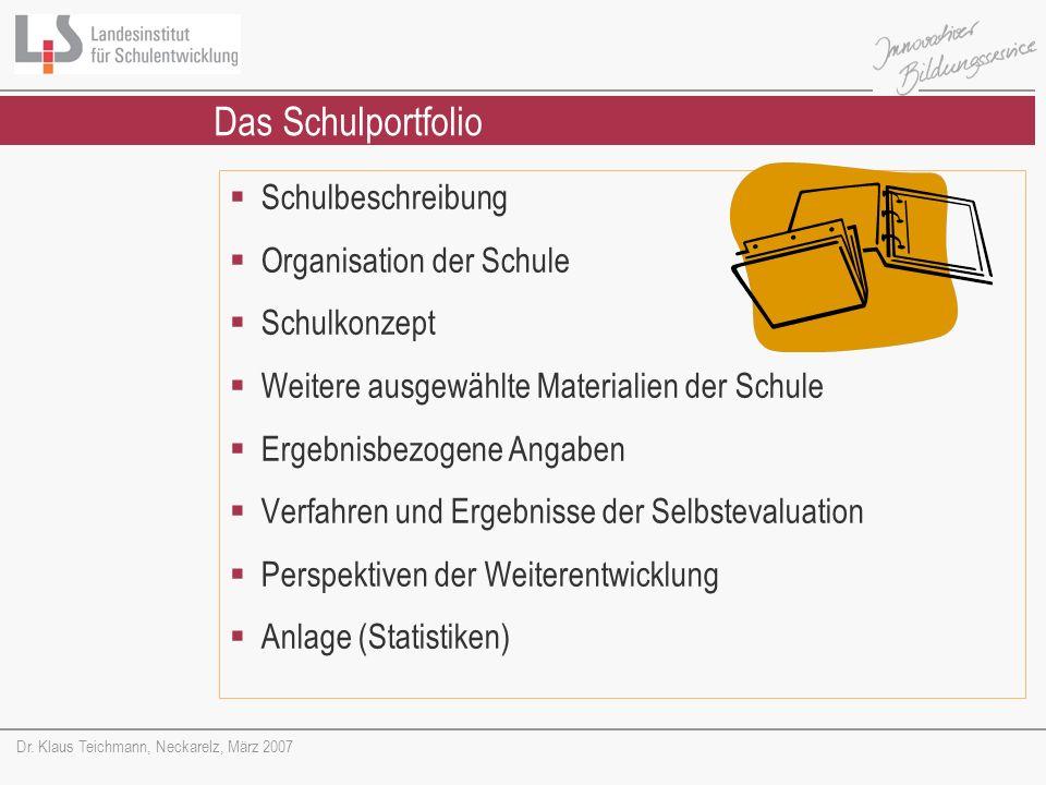 Das Schulportfolio Schulbeschreibung Organisation der Schule