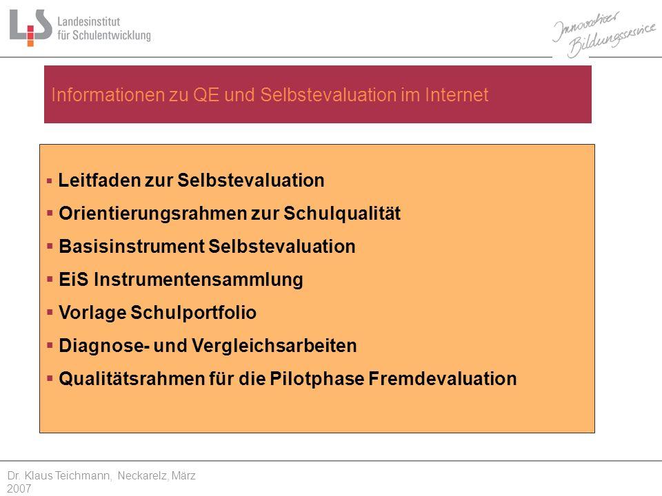 Informationen zu QE und Selbstevaluation im Internet