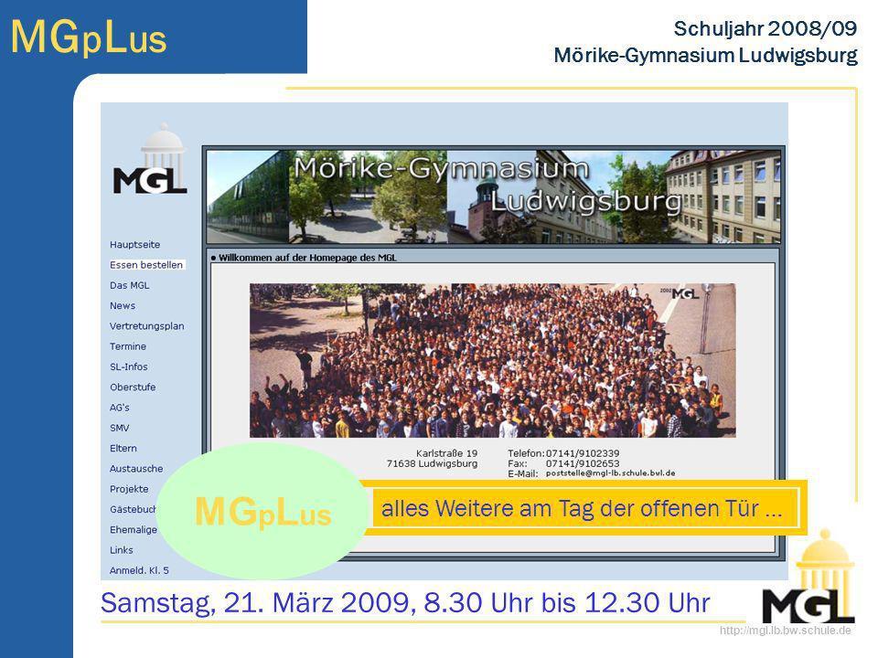 MGpLus Samstag, 21. März 2009, 8.30 Uhr bis 12.30 Uhr