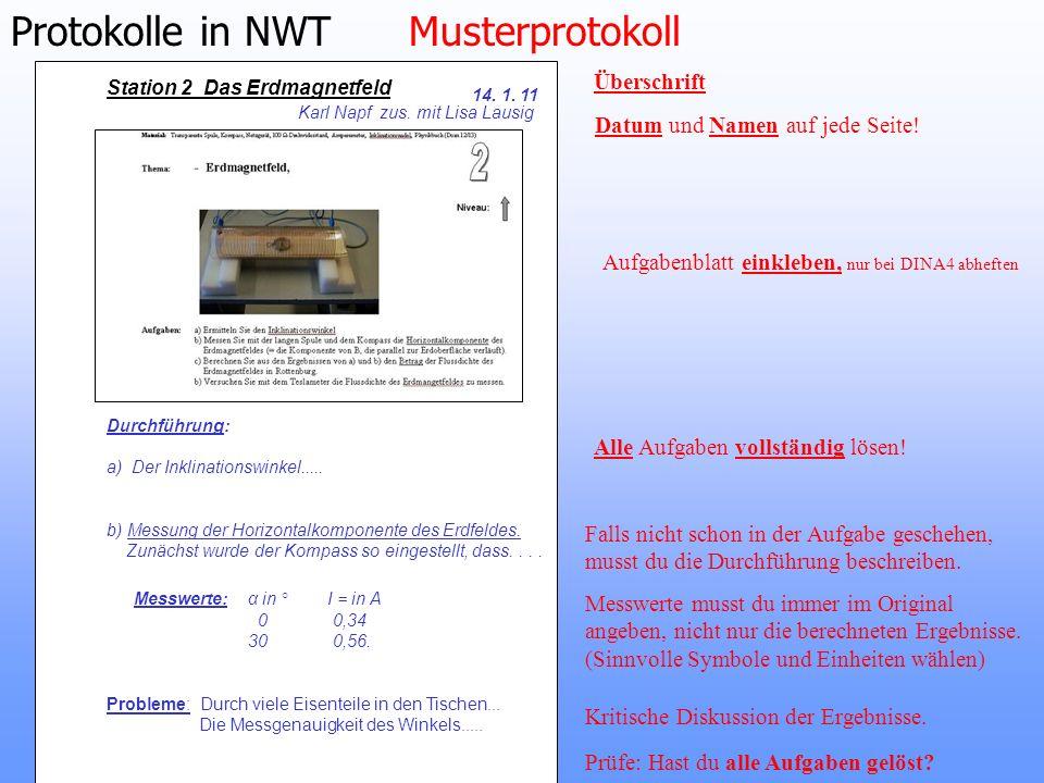Protokolle in NWT Musterprotokoll
