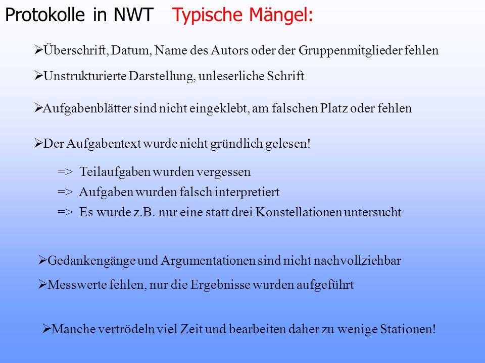 Protokolle in NWT Typische Mängel: