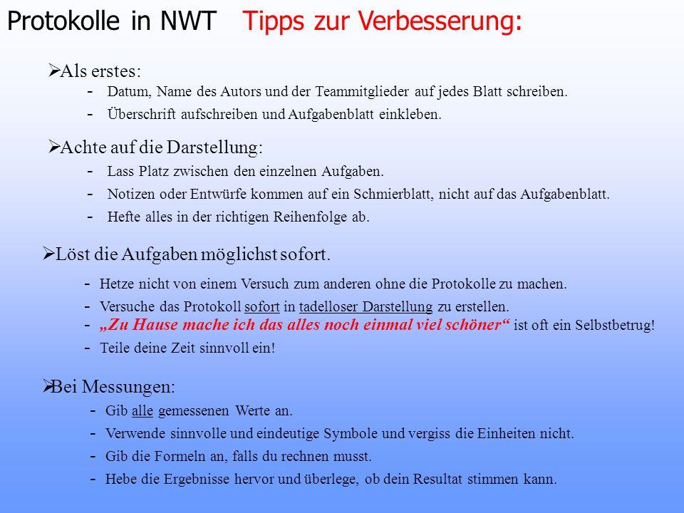 Protokolle in NWT Tipps zur Verbesserung: