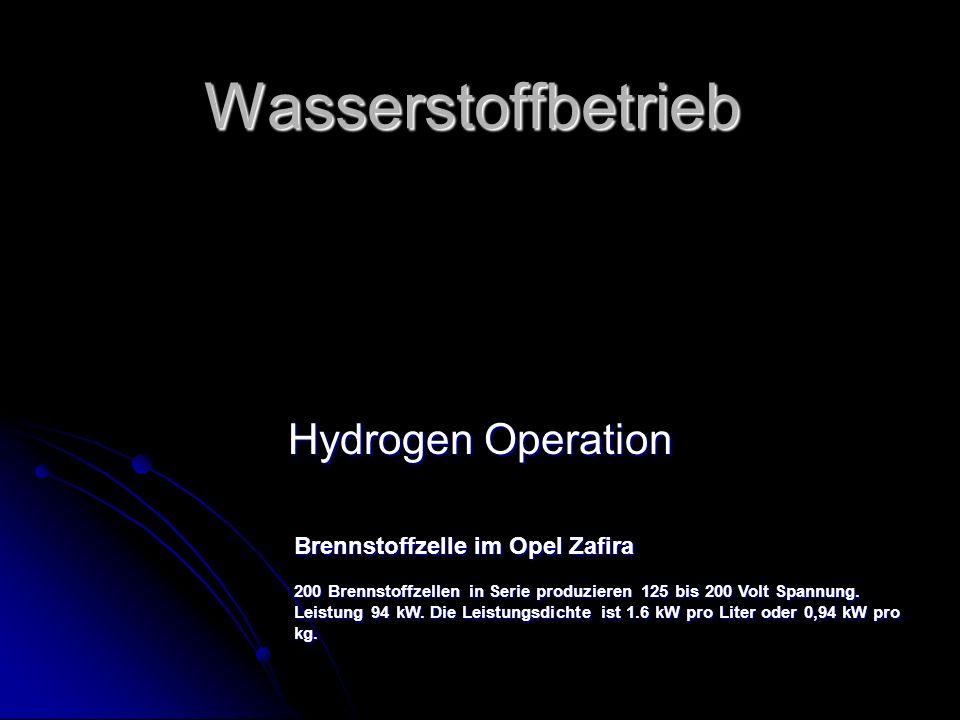 Wasserstoffbetrieb Hydrogen Operation Brennstoffzelle im Opel Zafira