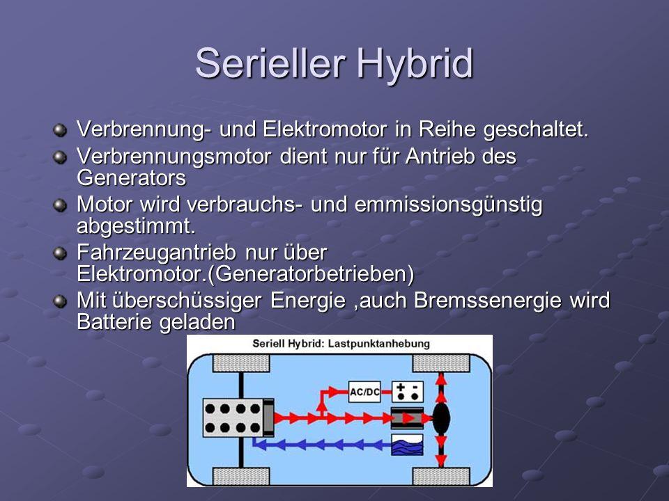 Serieller Hybrid Verbrennung- und Elektromotor in Reihe geschaltet.