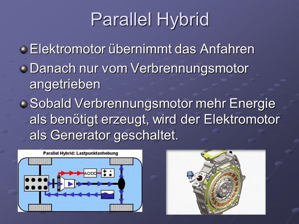 Parallel Hybrid Elektromotor übernimmt das Anfahren