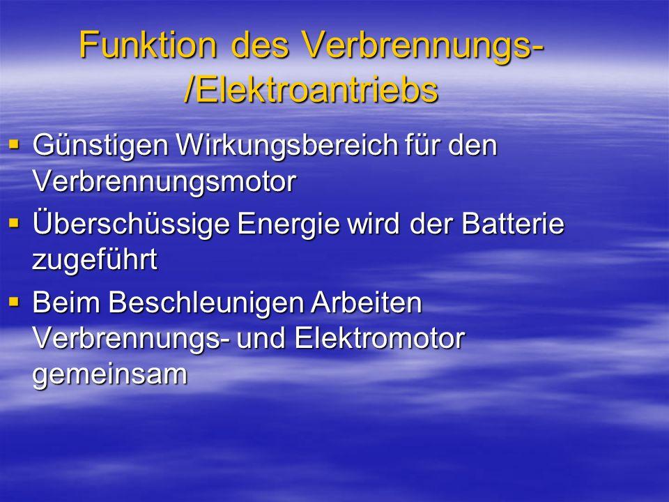 Funktion des Verbrennungs-/Elektroantriebs