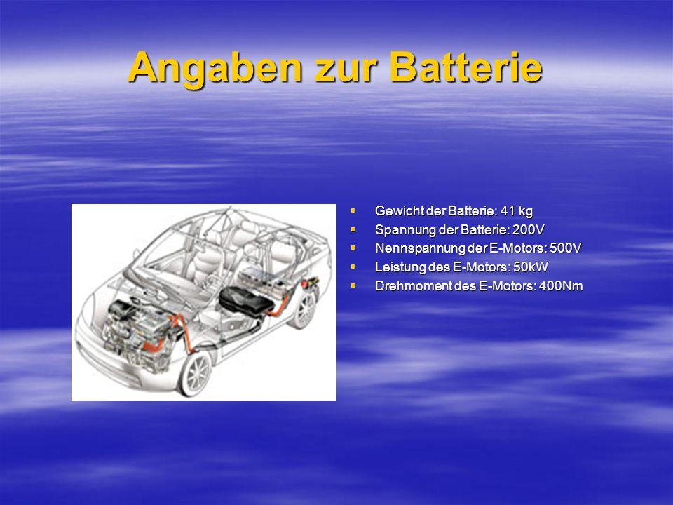 Angaben zur Batterie Gewicht der Batterie: 41 kg
