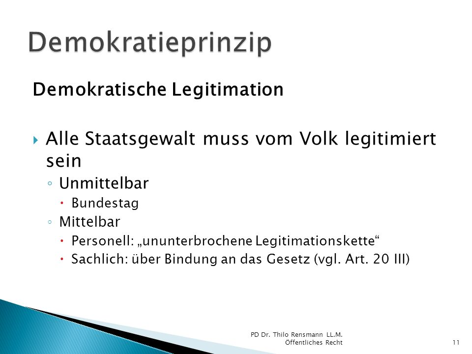 Demokratieprinzip Demokratische Legitimation
