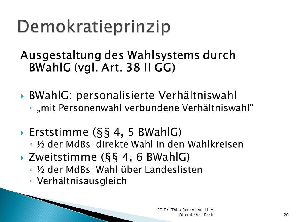 Demokratieprinzip Ausgestaltung des Wahlsystems durch BWahlG (vgl. Art. 38 II GG) BWahlG: personalisierte Verhältniswahl.