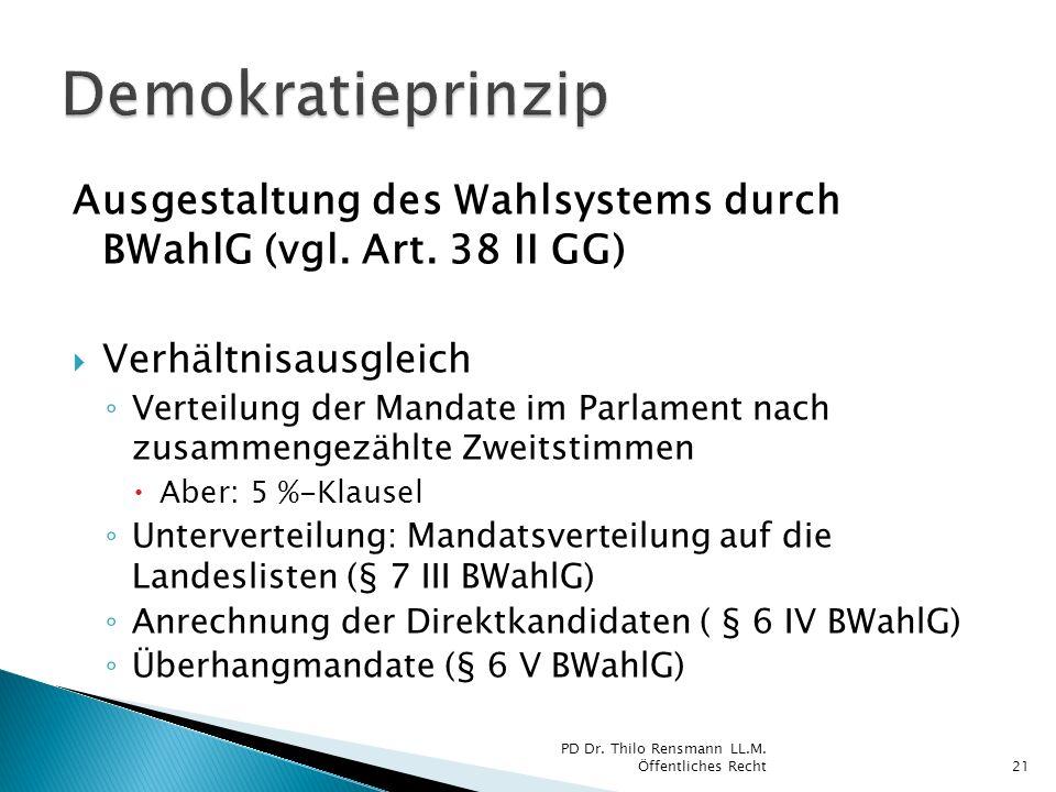 Demokratieprinzip Ausgestaltung des Wahlsystems durch BWahlG (vgl. Art. 38 II GG) Verhältnisausgleich.