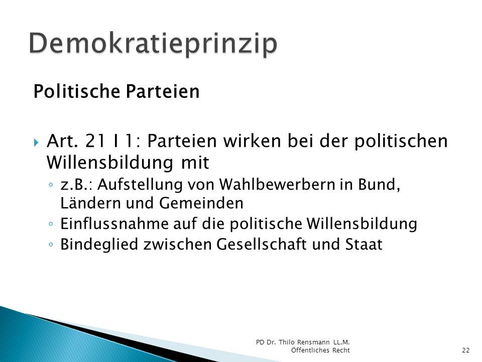 Demokratieprinzip Politische Parteien