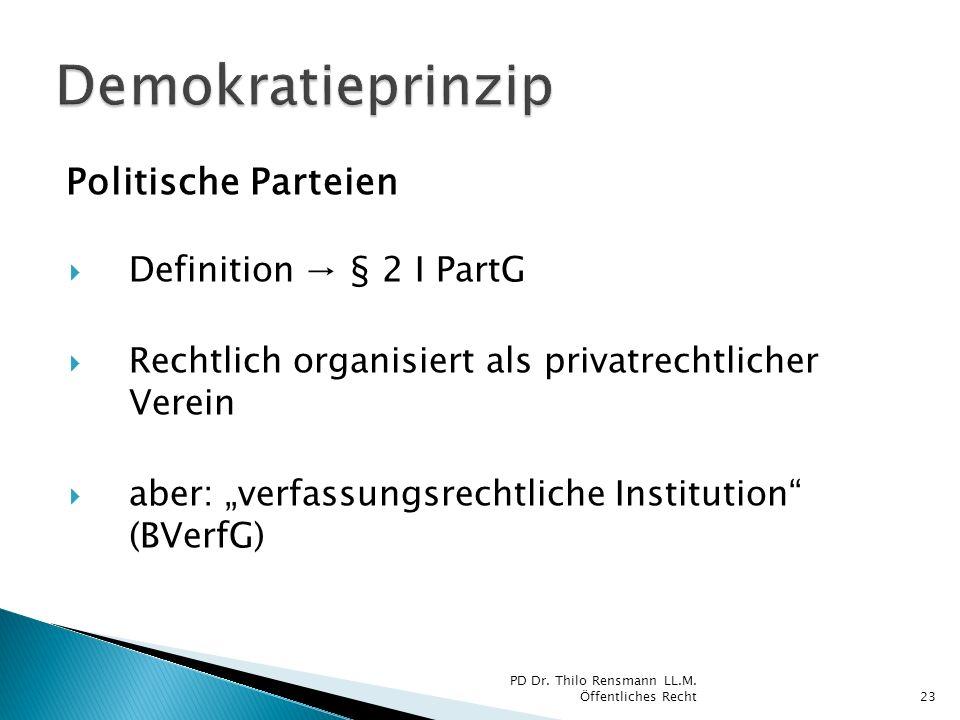 Demokratieprinzip Politische Parteien Definition → § 2 I PartG