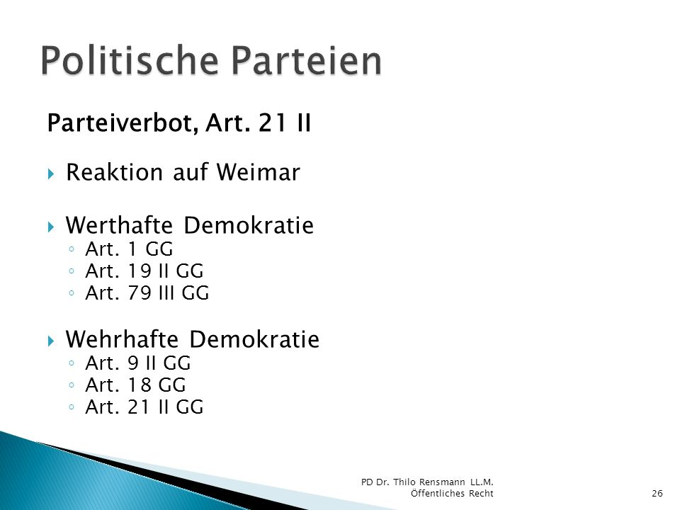 Politische Parteien Parteiverbot, Art. 21 II Reaktion auf Weimar