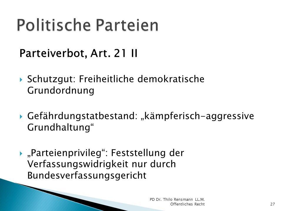 Politische Parteien Parteiverbot, Art. 21 II