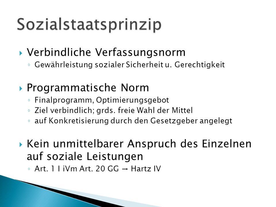 Sozialstaatsprinzip Verbindliche Verfassungsnorm Programmatische Norm