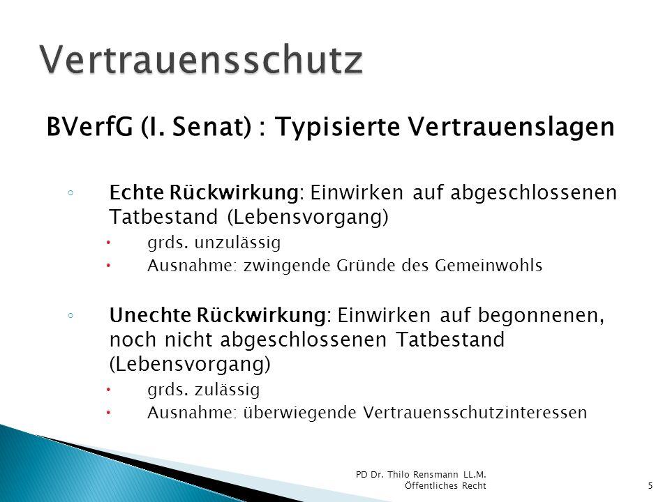 Vertrauensschutz BVerfG (I. Senat) : Typisierte Vertrauenslagen