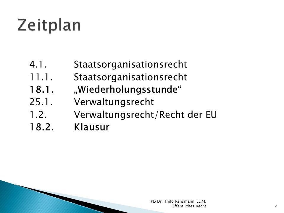 Zeitplan 4.1. Staatsorganisationsrecht 11.1. Staatsorganisationsrecht