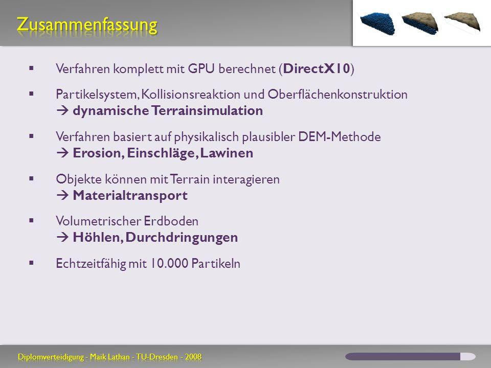 Zusammenfassung Verfahren komplett mit GPU berechnet (DirectX10)
