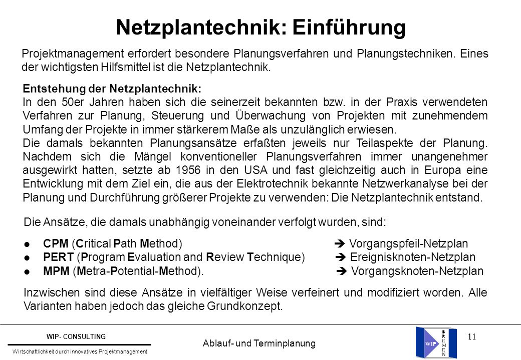 Netzplantechnik: Einführung