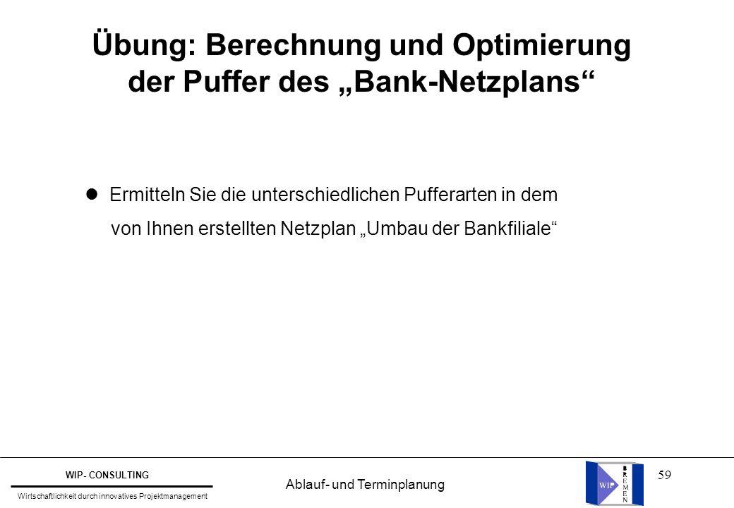 """Übung: Berechnung und Optimierung der Puffer des """"Bank-Netzplans"""