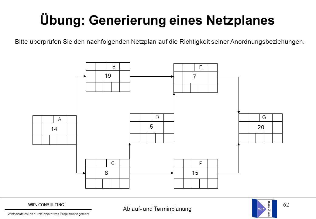 Übung: Generierung eines Netzplanes