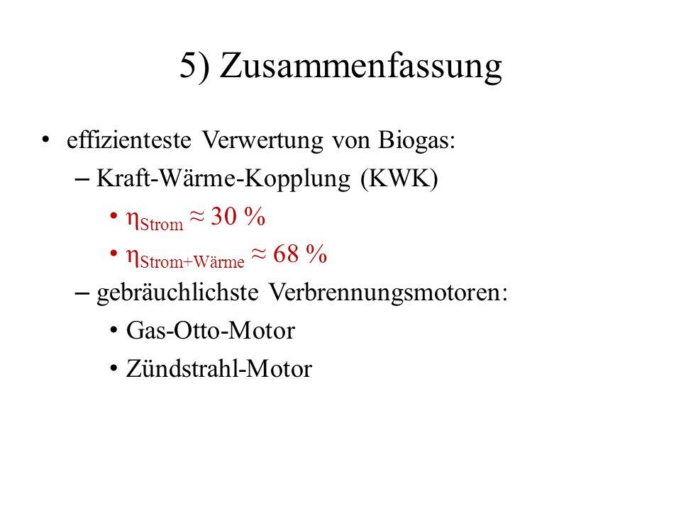 5) Zusammenfassung effizienteste Verwertung von Biogas: