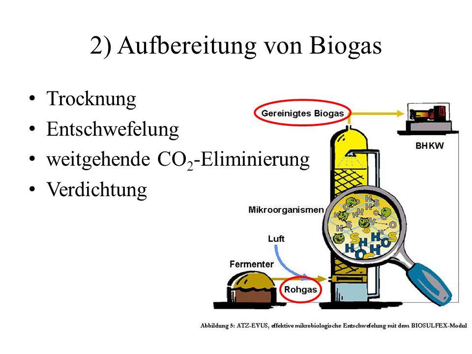2) Aufbereitung von Biogas