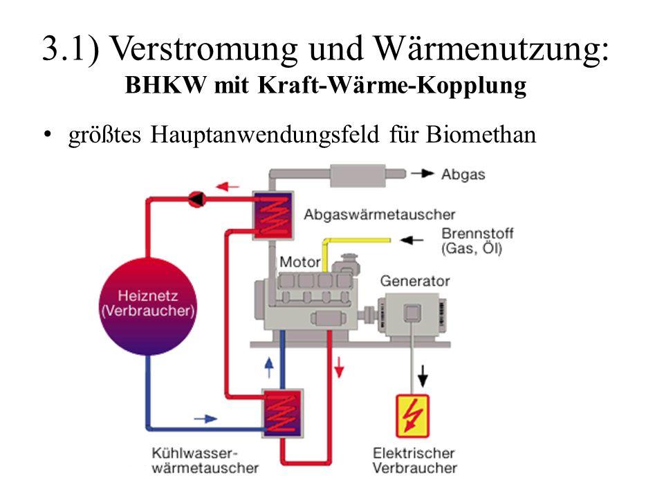 3.1) Verstromung und Wärmenutzung: BHKW mit Kraft-Wärme-Kopplung