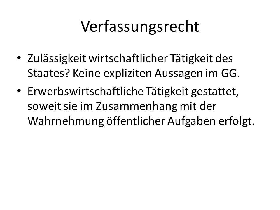 Verfassungsrecht Zulässigkeit wirtschaftlicher Tätigkeit des Staates Keine expliziten Aussagen im GG.