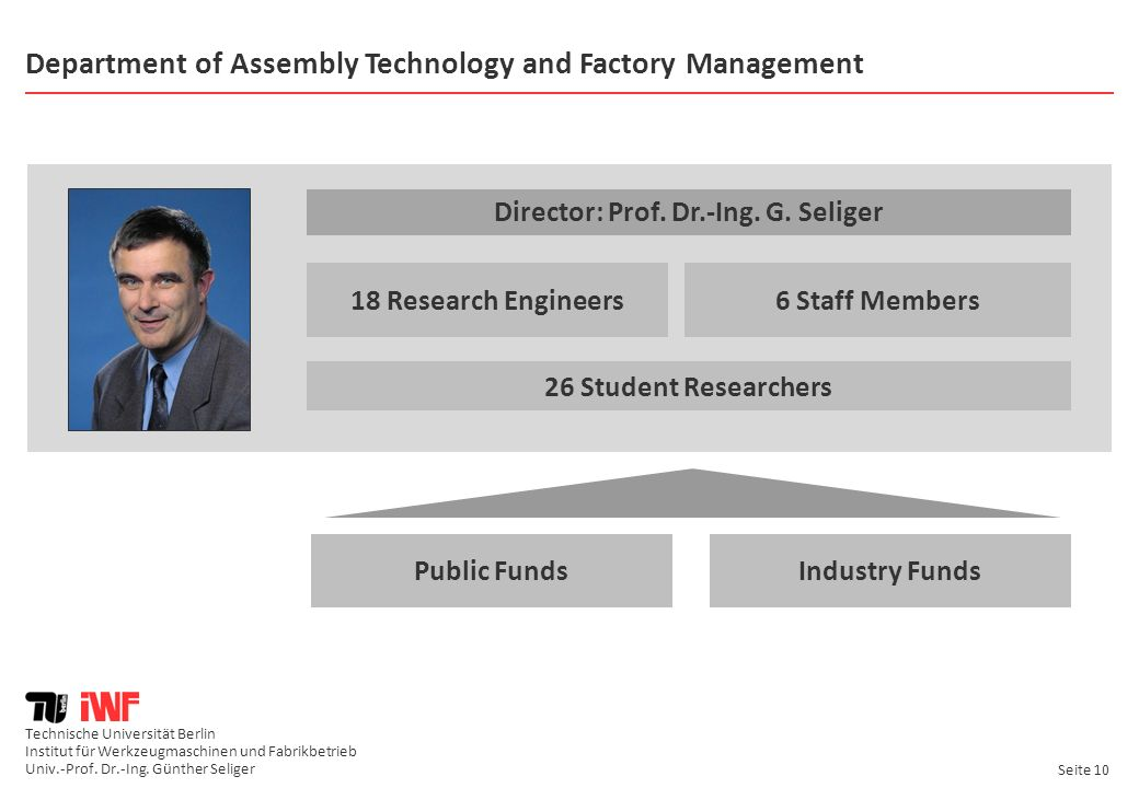 Department of Assembly Technology and Factory Management