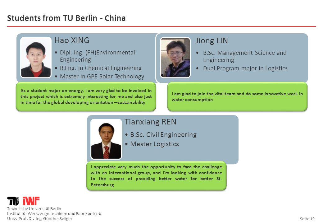 Students from TU Berlin - China