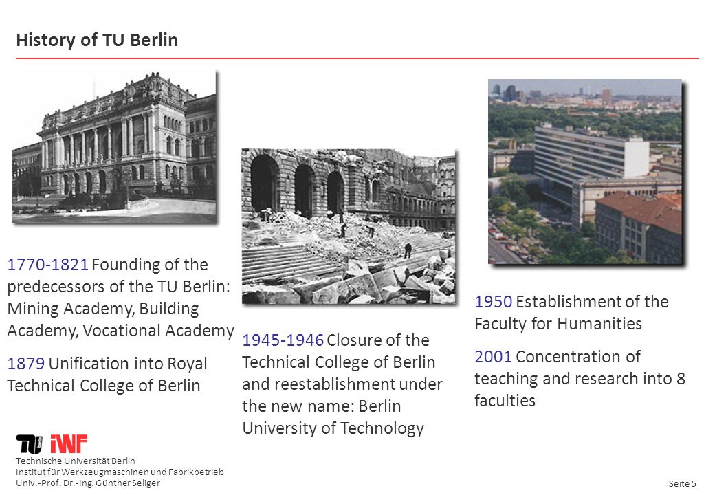 History of TU Berlin 1770-1821 Founding of the predecessors of the TU Berlin: Mining Academy, Building Academy, Vocational Academy.