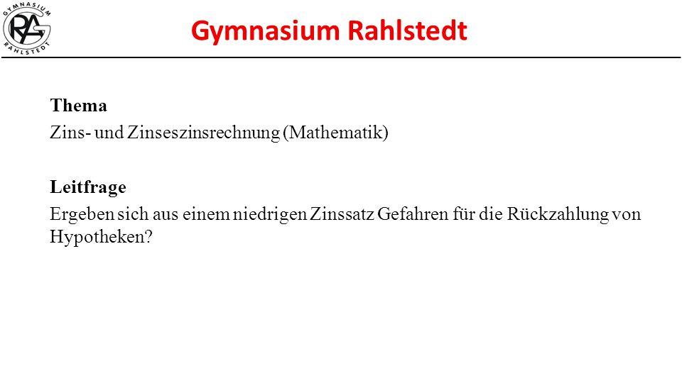 Thema Zins- und Zinseszinsrechnung (Mathematik) Leitfrage.