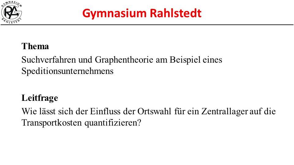 Thema Suchverfahren und Graphentheorie am Beispiel eines Speditionsunternehmens. Leitfrage.