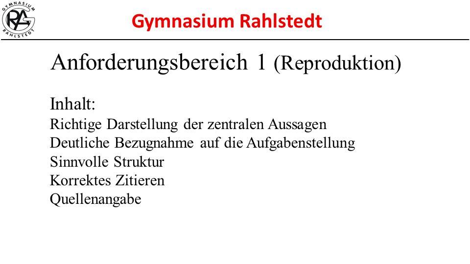 Anforderungsbereich 1 (Reproduktion)